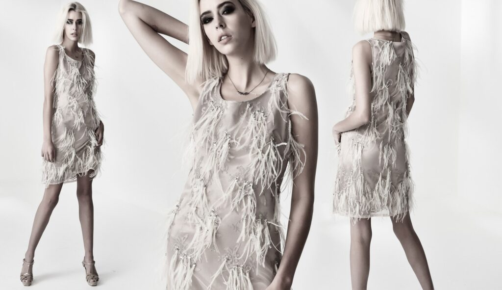 OSTRICH TULLE FEATHER DRESS