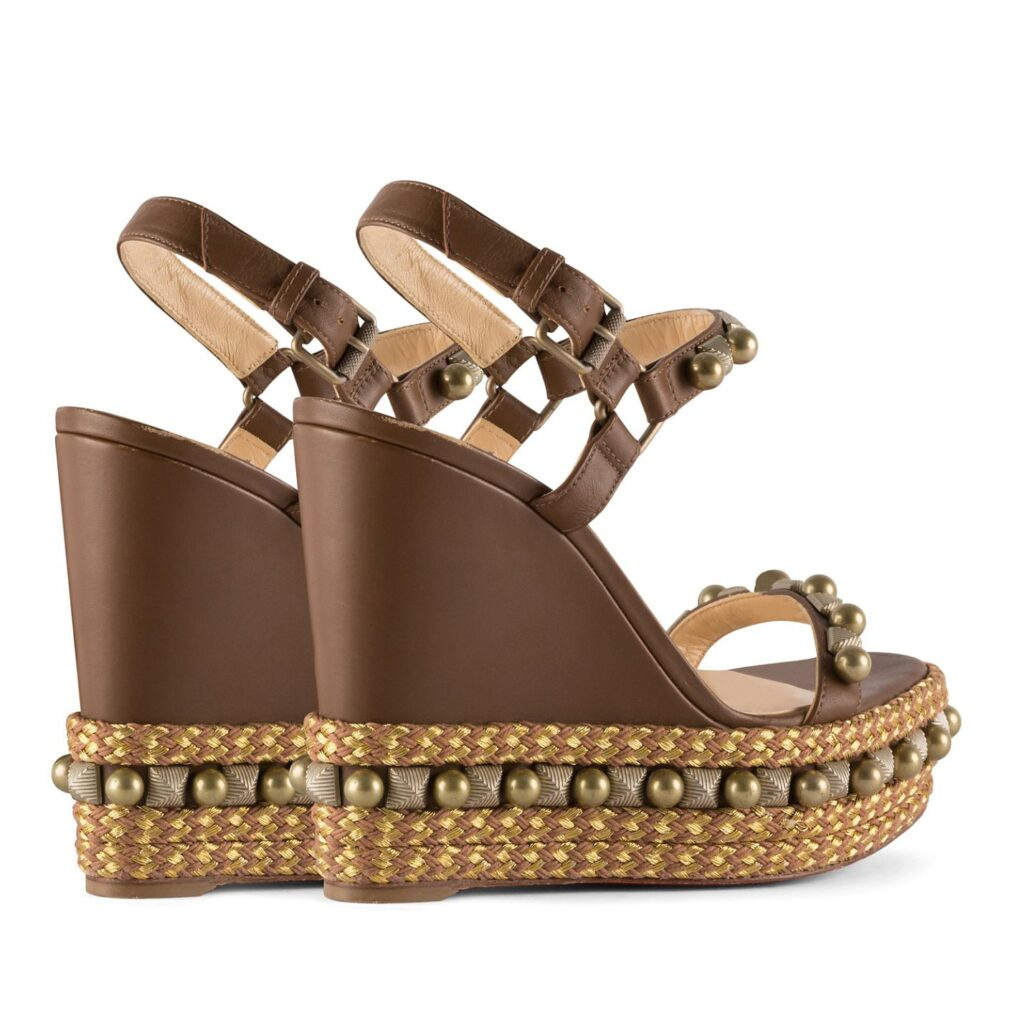 Brown Studded Wedges